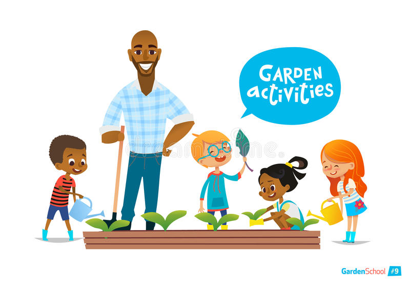 Teacher and kids engaged gardening in the backyard. Girl watering flowers in the garden. Eco concept. Montessori education. Concept. Organic gardening. Vector royalty free illustration