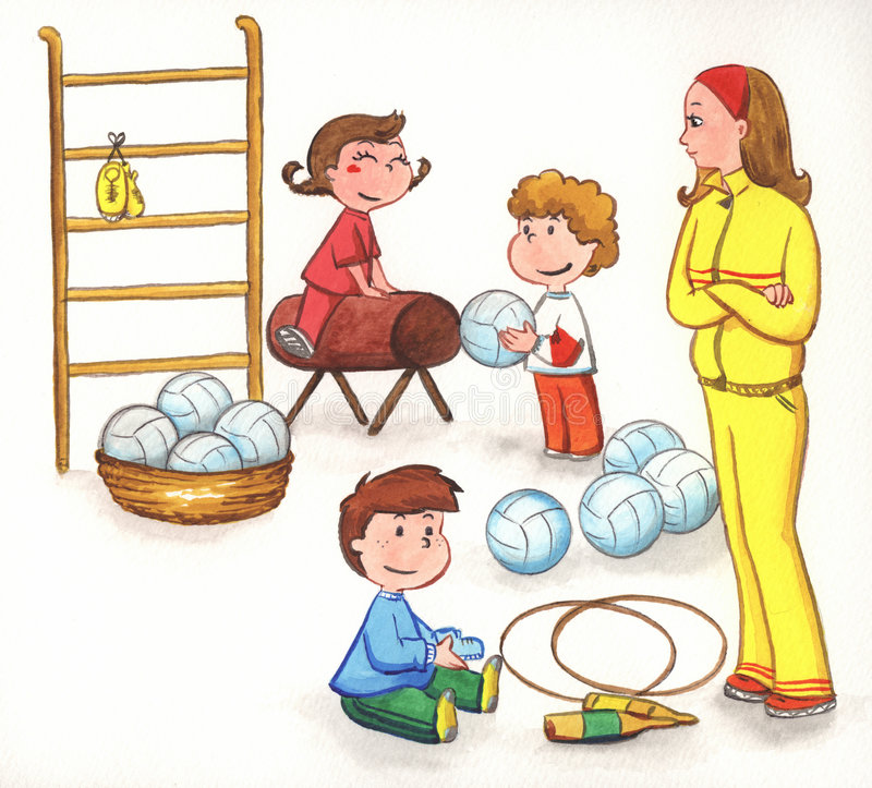 Teacher with kids in gym stock illustration