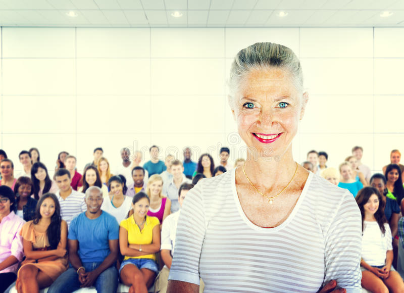 Teacher Large Group of Student Lecture Room Concept.  stock photos