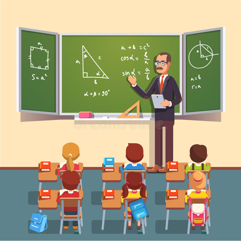 Teacher man giving a trigonometry lecture stock illustration
