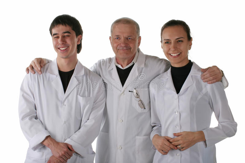 Teacher with medical students stock images