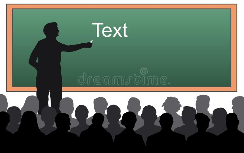 Teacher near the blackboard with chalk. royalty free illustration