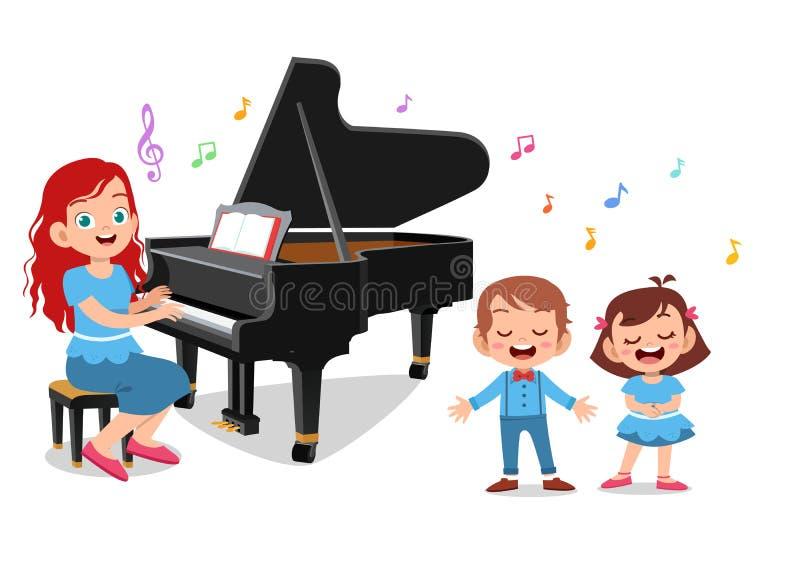 teacher play piano vectors illustration royalty free illustration