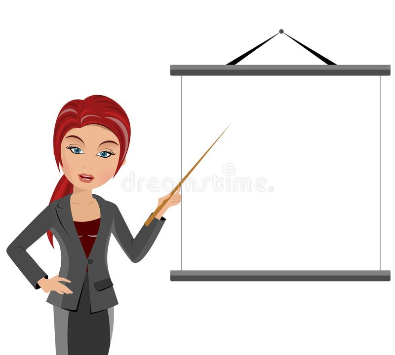 Teacher with Pointer and Whiteboard. Portrait of a beautiful red haired teacher holding a pointer indicating a blank white board with copy space for text. All royalty free illustration