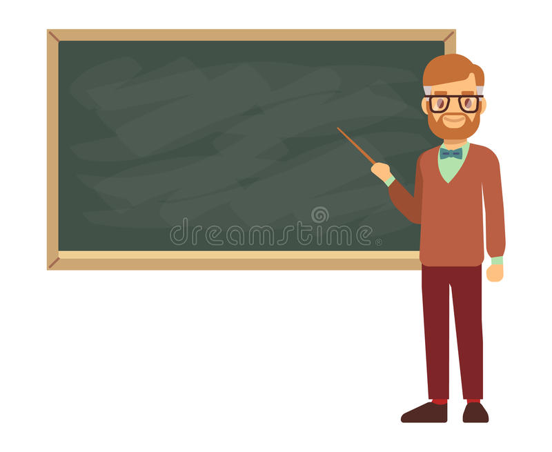 Teacher, professor standing in front of blank school blackboard vector illustration stock illustration