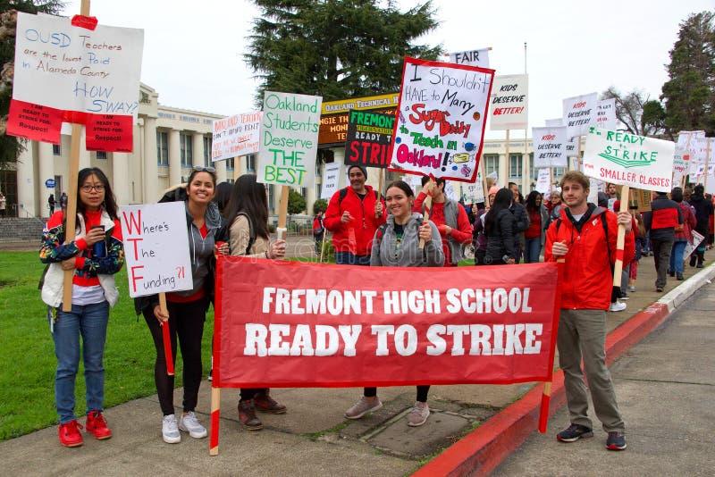 Teacher protest walkout, Oakland, CA stock photos