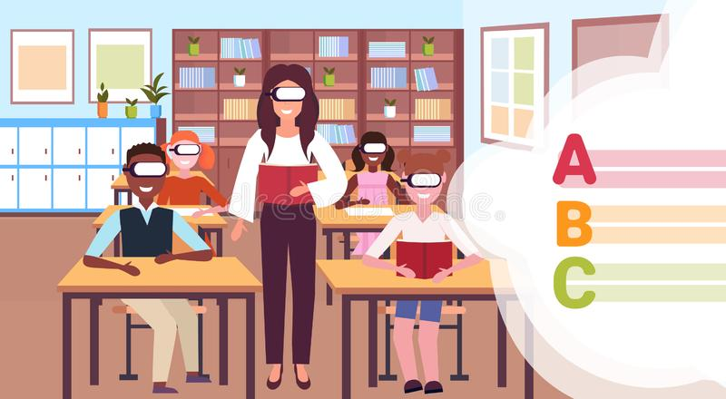 Teacher with pupils reading book wearing digital glasses virtual reality letters headset vision education concept modern royalty free illustration