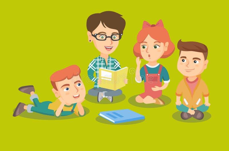 Download Teacher Reading A Book For Kids In Kinder Garden. Stock Vector    Illustration Of