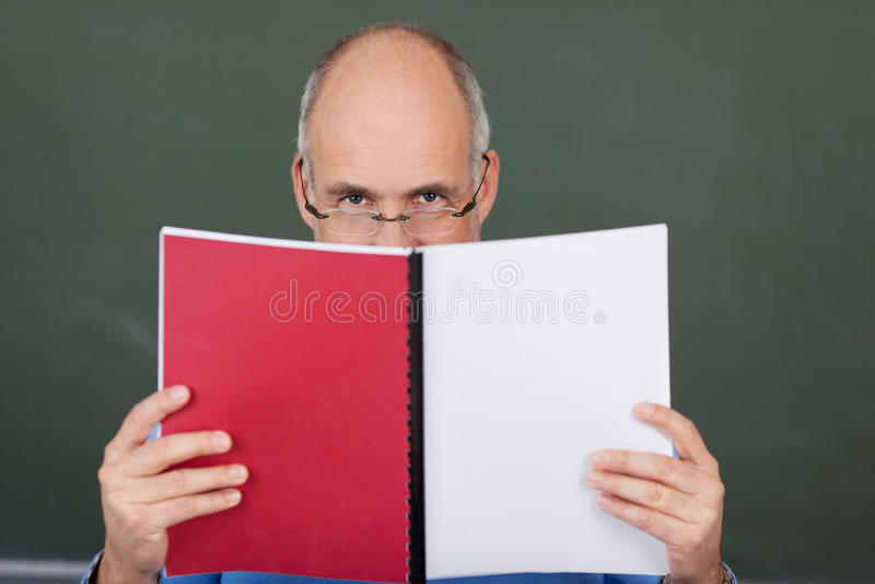 Teacher reading a book stock photography