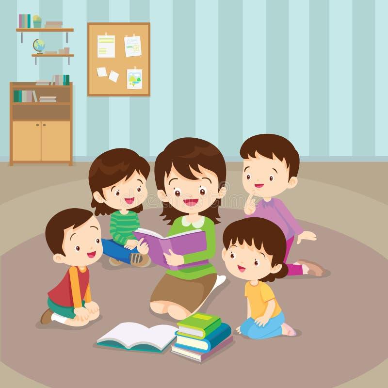 Teacher reading for kids stock illustration