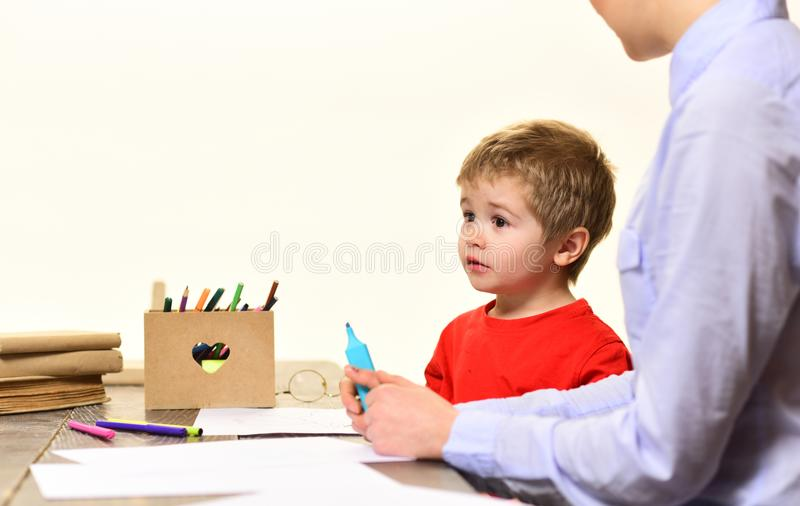Teacher respects students, University male speaker conducts business training, Teachers are as different as the students. They teach, Concept education - back stock photo