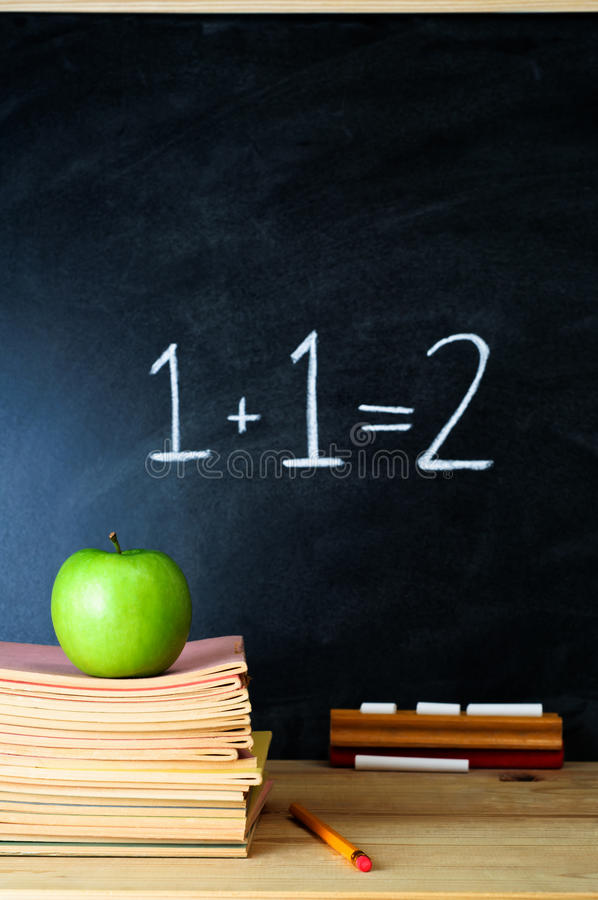 Teacher's Desk and Chalkboard royalty free stock photography