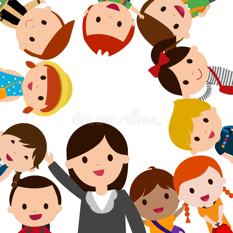 Teacher and school kids vector illustration