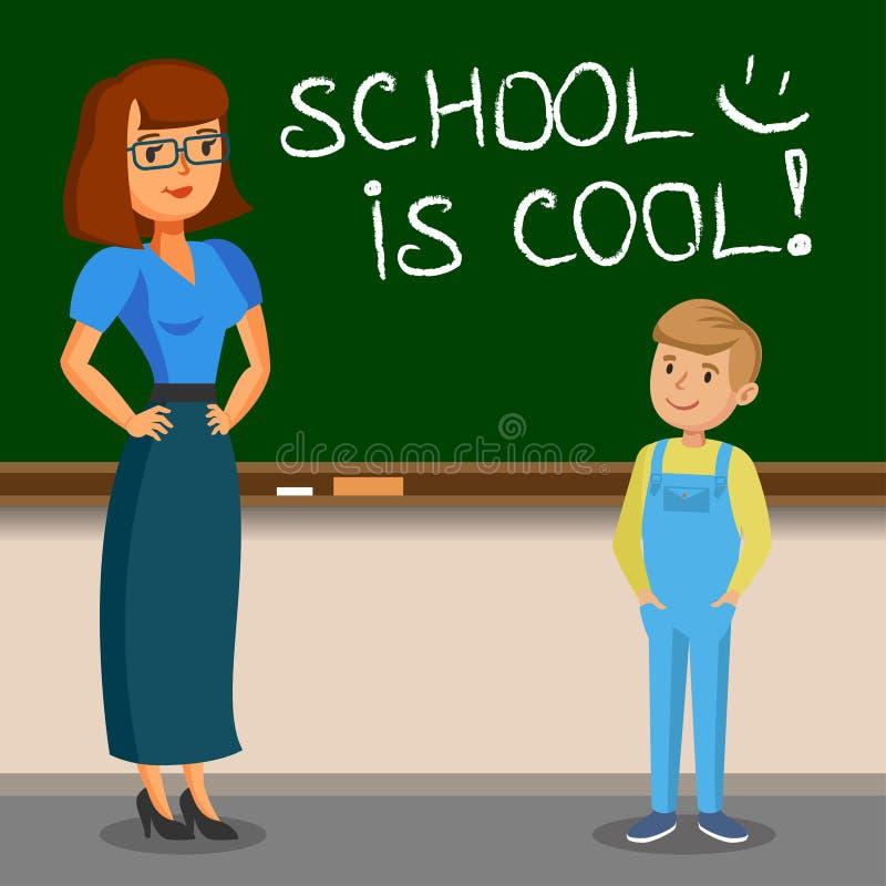 Teacher and schoolboy writing on chalk board. Back to school. Vector illustration stock illustration