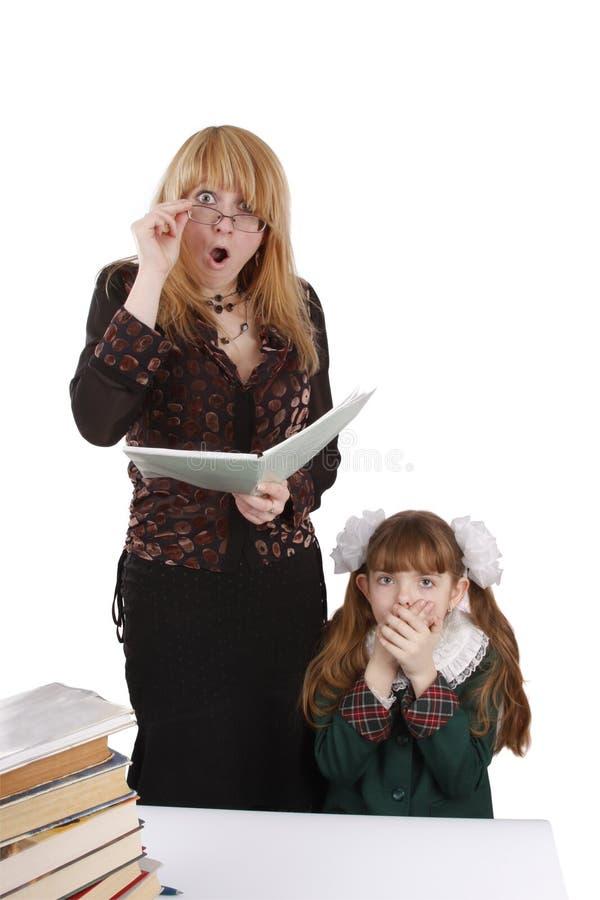 Teacher Is Shocked At Schoolgirl S Homework. Stock Photos