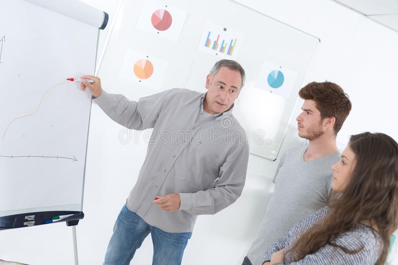 Teacher showing students something on blank white board. Male stock images