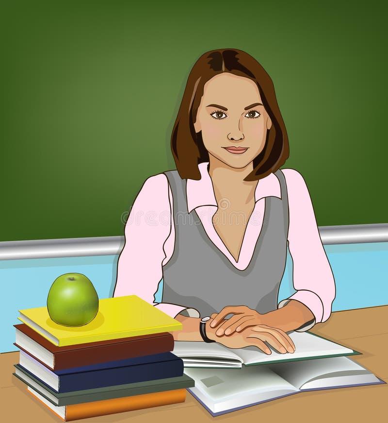 Teacher. Sitting. Books and apple. Vector illustration stock illustration