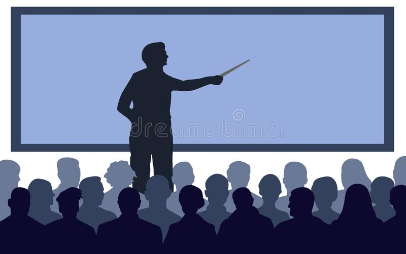 Teacher, speaker stands near the screen. royalty free illustration