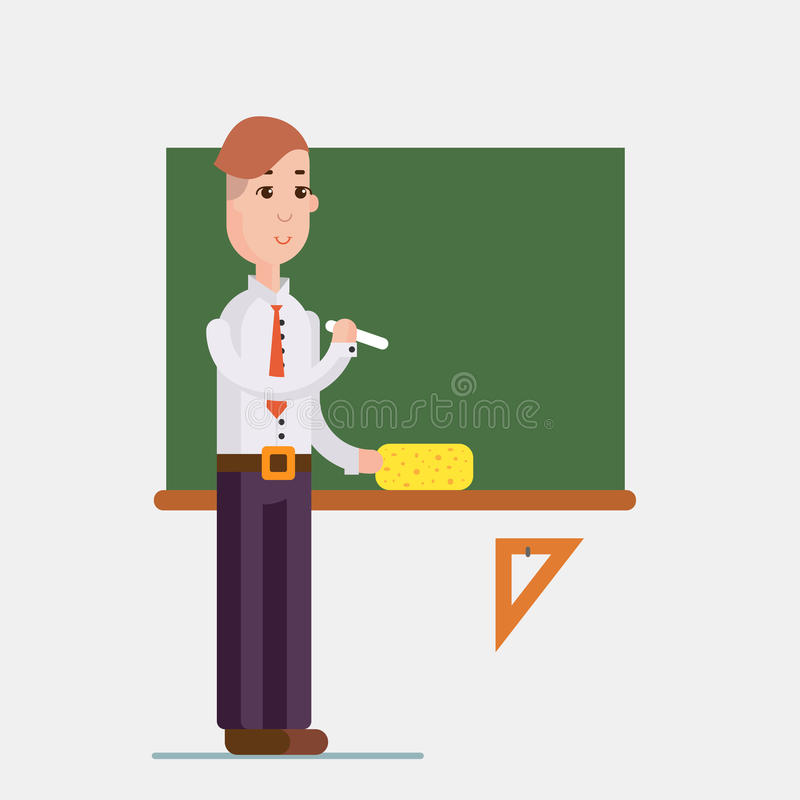 Teacher standing in front of blackboard holding chalk in classroom at school, college or university. Flat design people characters stock illustration