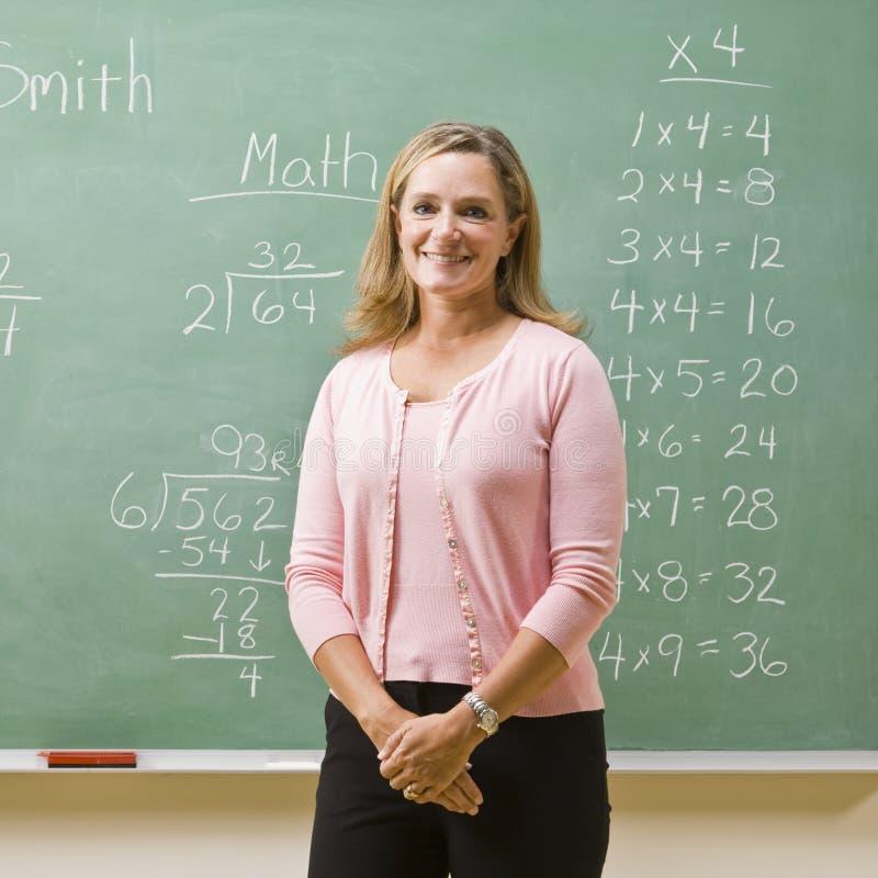 Teacher standing near blackboard royalty free stock images