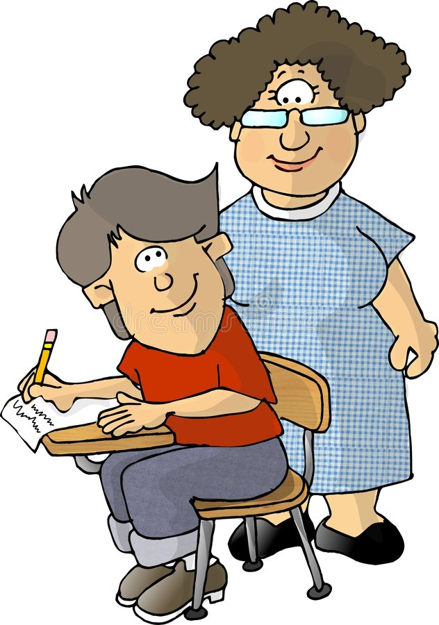 Teacher and student royalty free illustration
