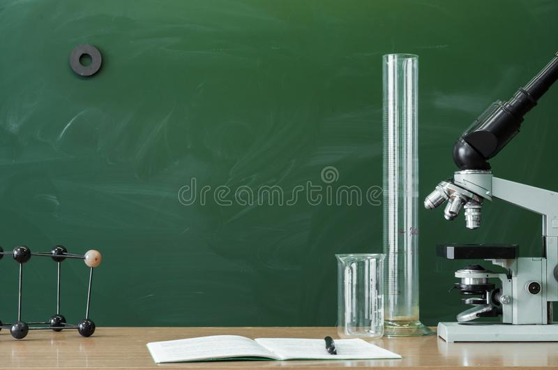 Education background. Teacher or student desk table. Education concept. stock photography
