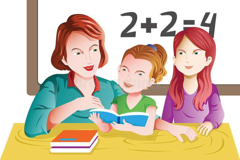 Teacher and student in the classroom stock illustration