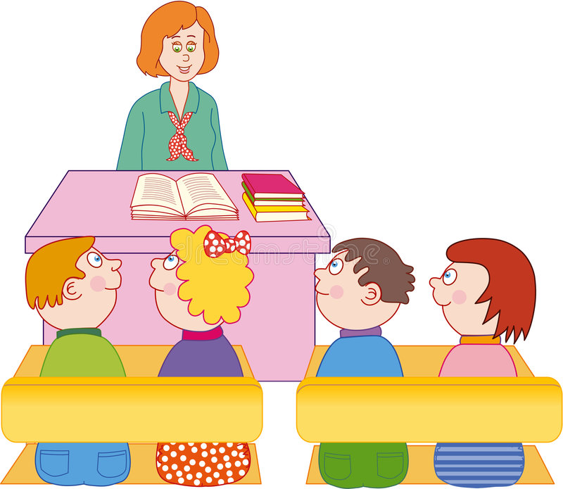 teacher and students stock vector illustration of drawing 7140541 rh dreamstime com teacher teaching students clipart black and white classroom with teacher and students clipart