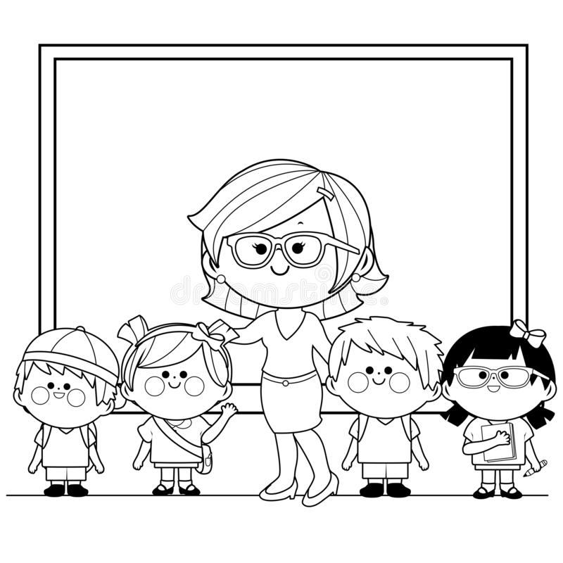 Children Teacher Black White Stock Illustrations – 794 ...