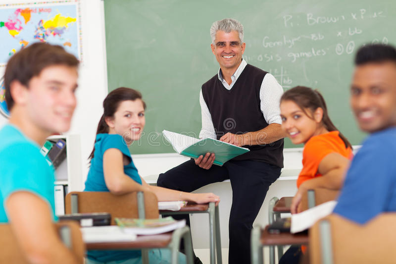 Teacher students classroom royalty free stock photography