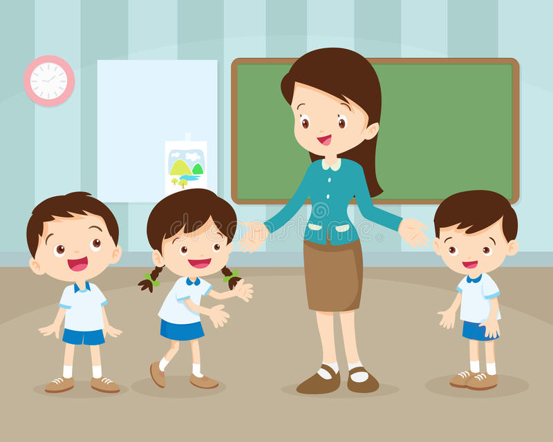 Teacher and students in classroom stock illustration