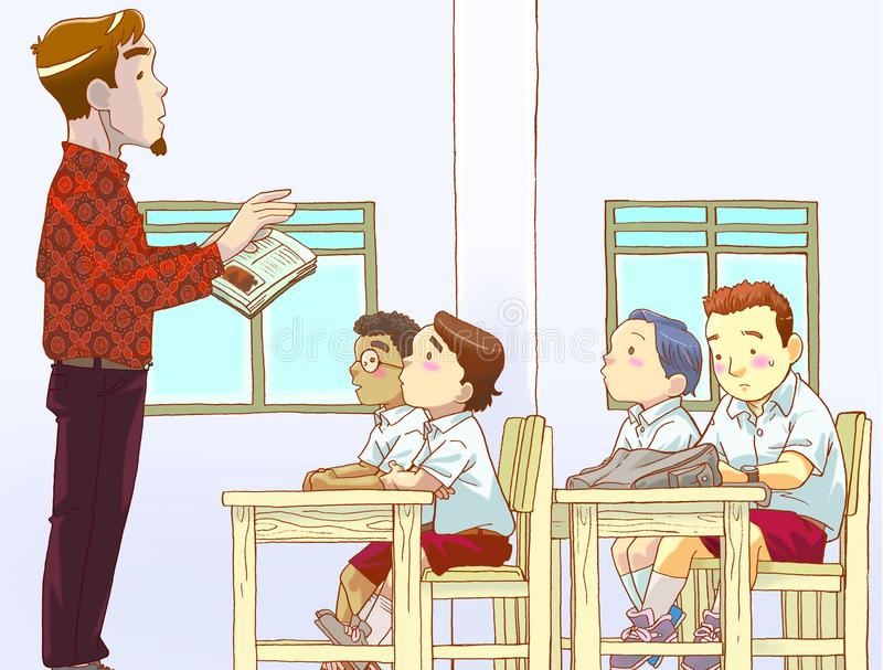 Teacher and students in a classroom. Theacher and students in a classroom. Illustrating teacher teching students, some students pay attention and some of them stock illustration