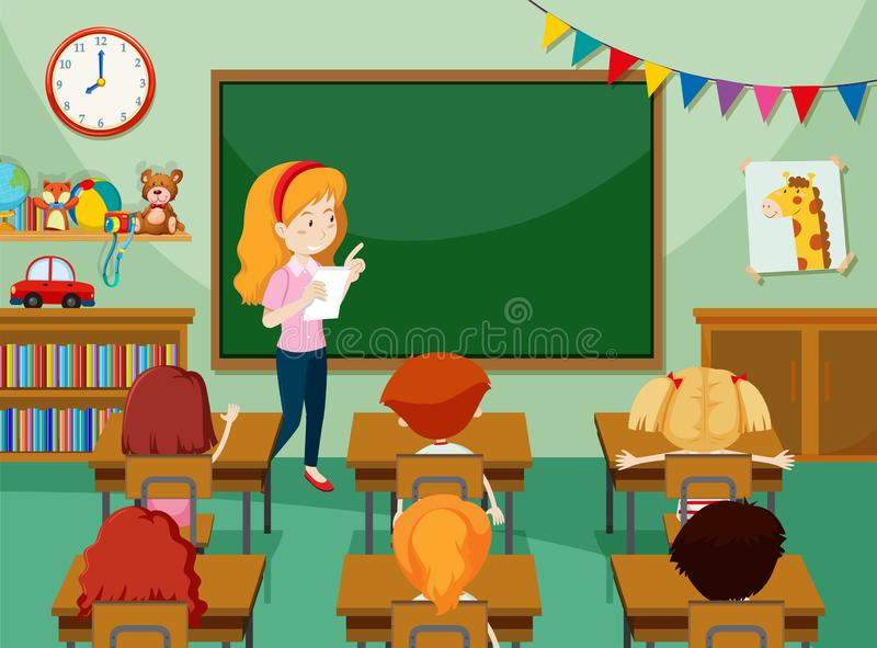 Teacher and students in classroon royalty free illustration