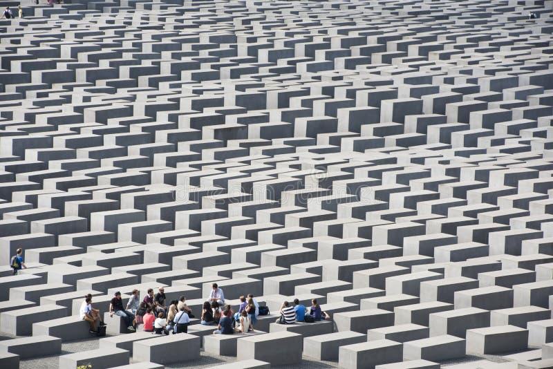 Teacher and Students Holocaust Memorial Berlin stock image