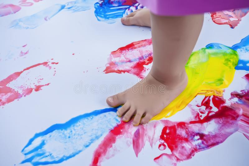 Education. Foot. Teach. Preschool. Child. Outdoor activity. Practive. Color. royalty free stock photography