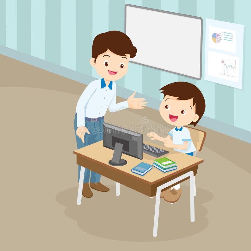 Teacher teaching computer to student boy. Teacher teaching computer to student girl.pupil studying computer class stock illustration