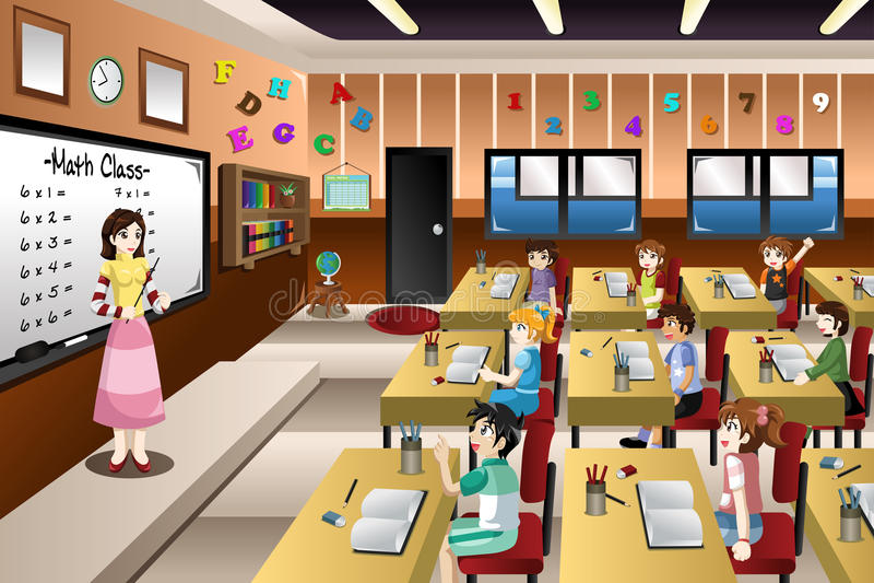 Teacher Teaching Math in Classroom stock illustration