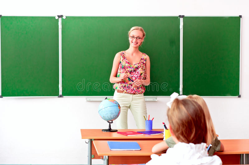 Download Teacher Tells The Children Geography Lesson Stock Image - Image of asking, appearance: 26672977