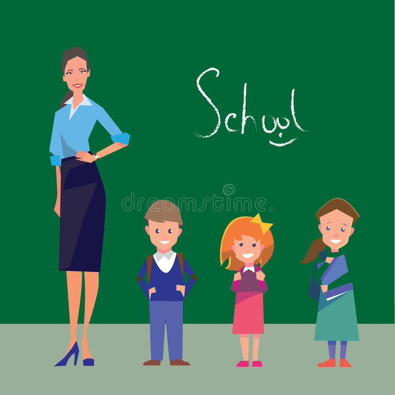 Teacher and three students of primary grades royalty free illustration