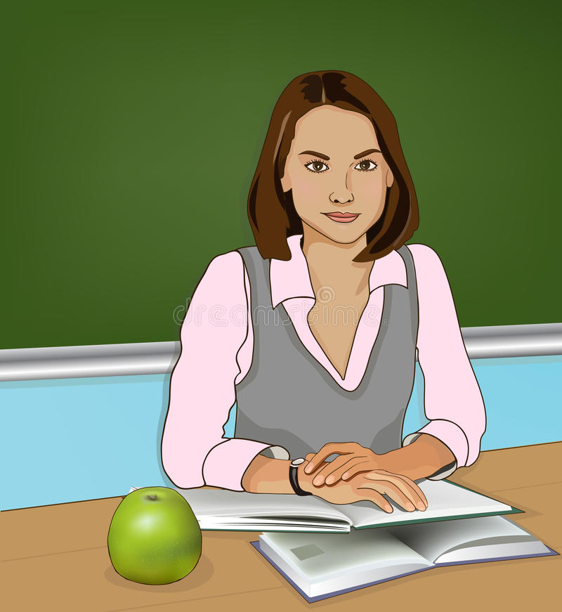 Teacher vector image. Teacher sitting. Books and apple vector illustration