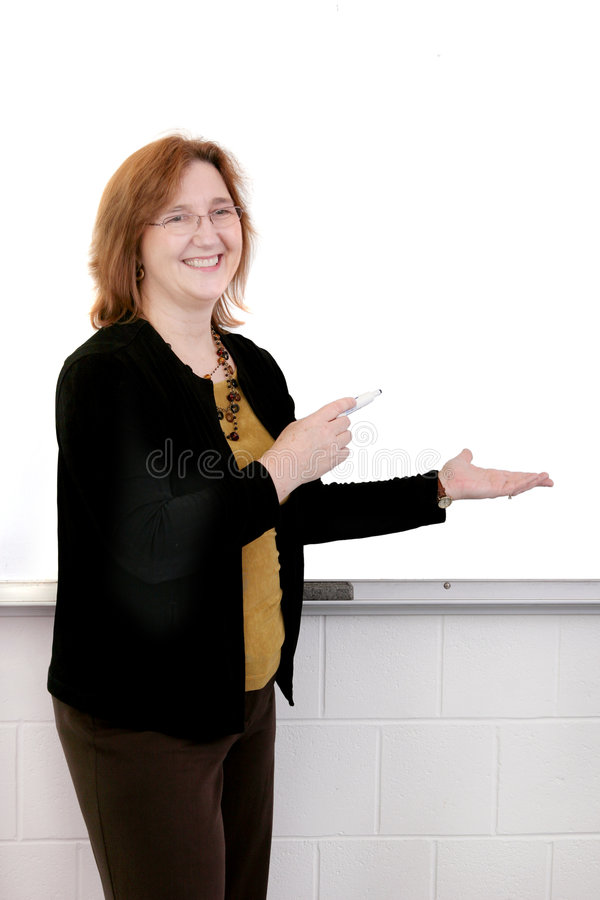 Teacher at the white board royalty free stock photo