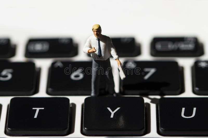 Teacher and white notebook keyboard. Computer keyboard macrophoto. Y or Yes button closeup. Internet business. Web Site programming. Computer education concept royalty free stock photos