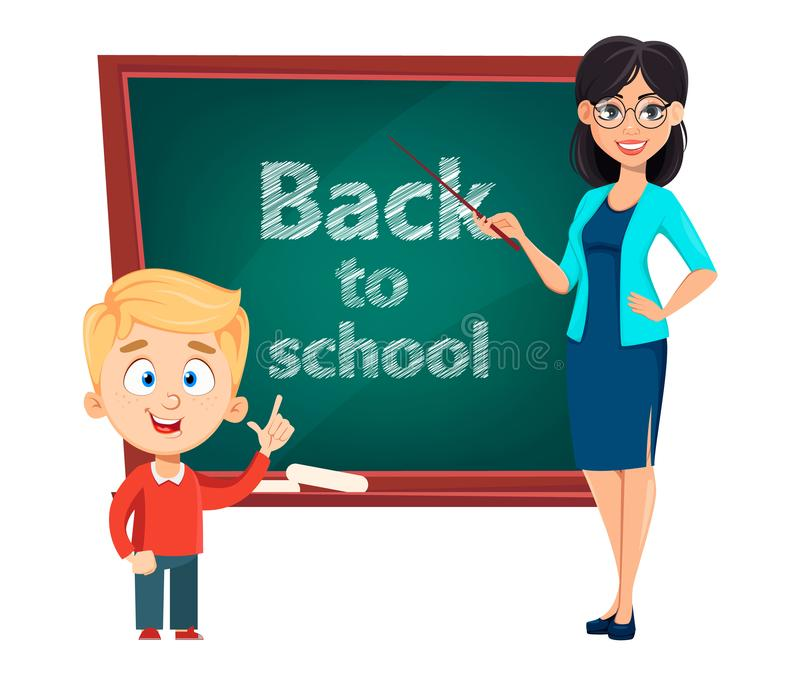 Teacher woman cartoon character and cute schoolboy. Back to school. Teacher woman cartoon character and cute schoolboy standing near blackboard. Teacher`s day stock illustration