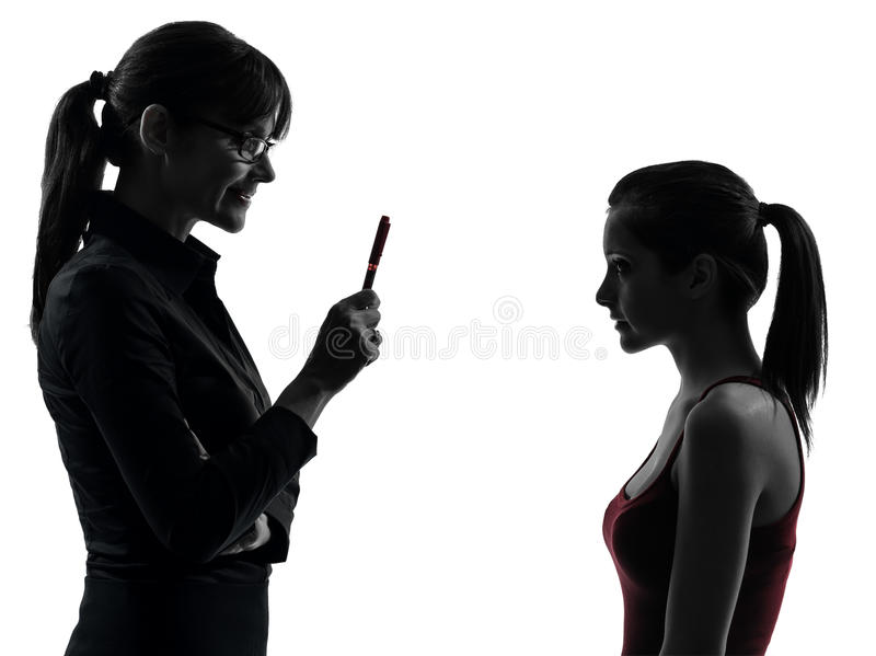 Download Teacher Woman Mother Teenager Girl Discussion  In Silhouette Stock Image - Image: 28754371