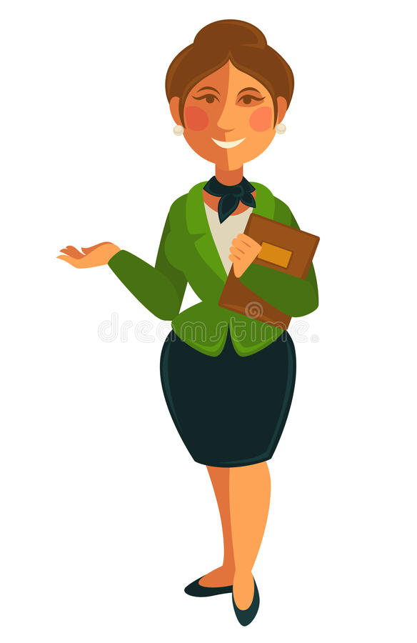 Teacher woman of school university profession vector flat isolated icon royalty free illustration