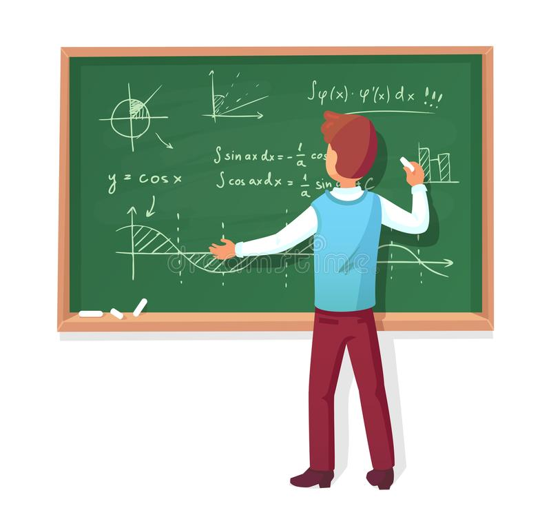 Teacher write on blackboard. School professor teach students, explaining charts formulas graphs on chalkboard vector stock illustration