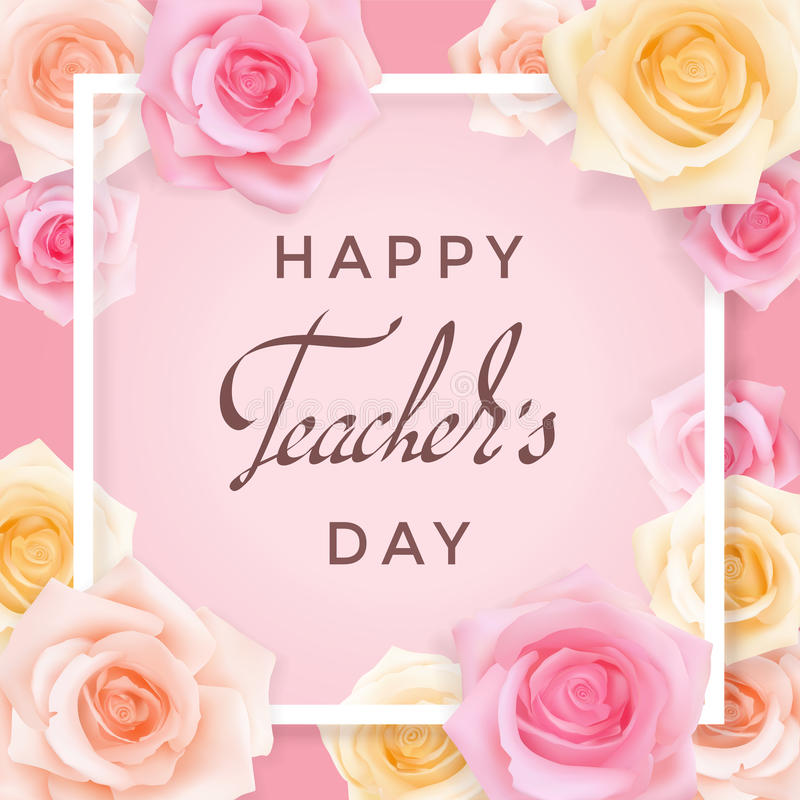 Teachers day card with roses stock vector illustration of bouquet happy teachers day greeting card transparent banner templates with congratulations and roses on a pink background photo realistic delicate pastel flowers m4hsunfo