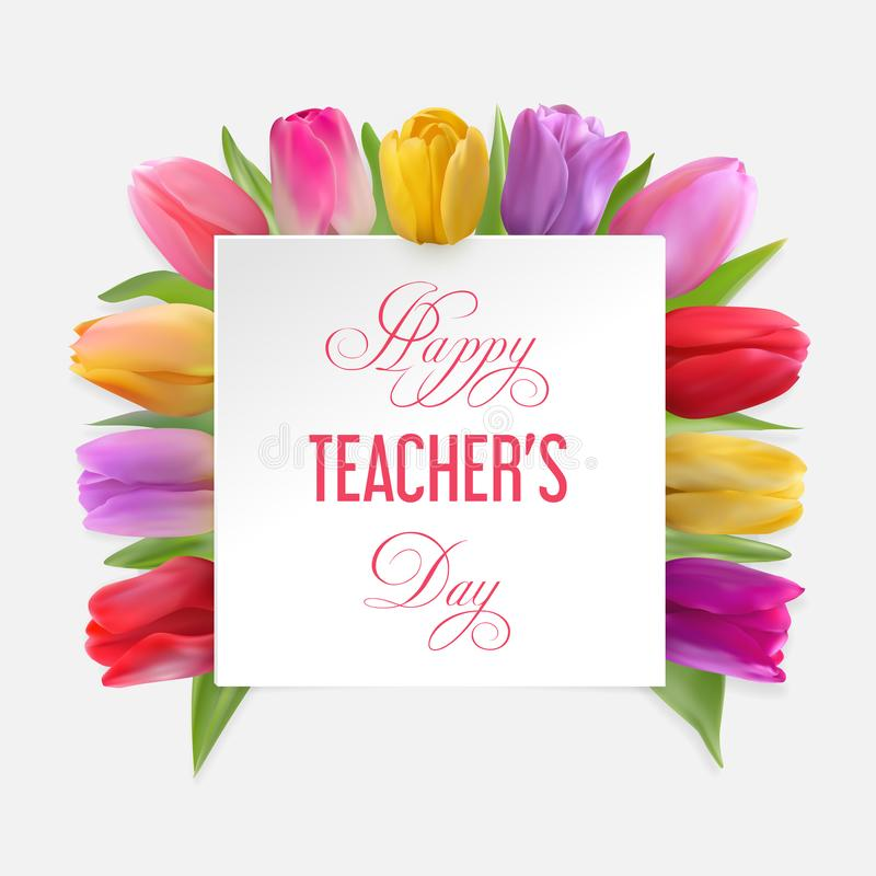 Teachers day card with tulips stock images
