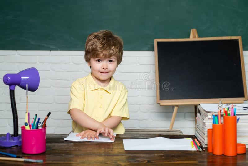 Teachers day - education for pupil in school. Teachers day - school concept. Girl and boy with happy face expression stock photography