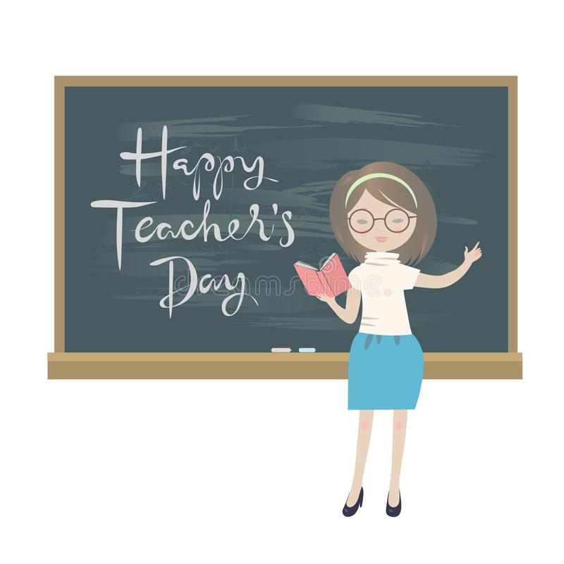 Teachers day greeting card a teacher standing at a chalkboard stock download teachers day greeting card a teacher standing at a chalkboard stock vector illustration m4hsunfo